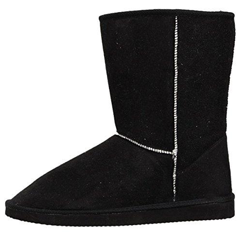 Lalang Damen Schnee Stiefel Winterstiefel Warm Winter Boots Schneestiefel (40, Schwarz)