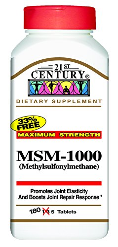 21st century msm 1000 mg tablets 180 count herb supplements