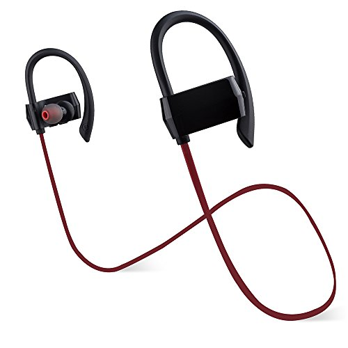 Earhook Bluetooth Headphones,Kaleep G18 Noise Canceling Wireless Earbuds In-ear Earclip Headset Sport Music Earplug Earphones w/ Mic&Volume Control for Workout,Running,Driving Gym-Red