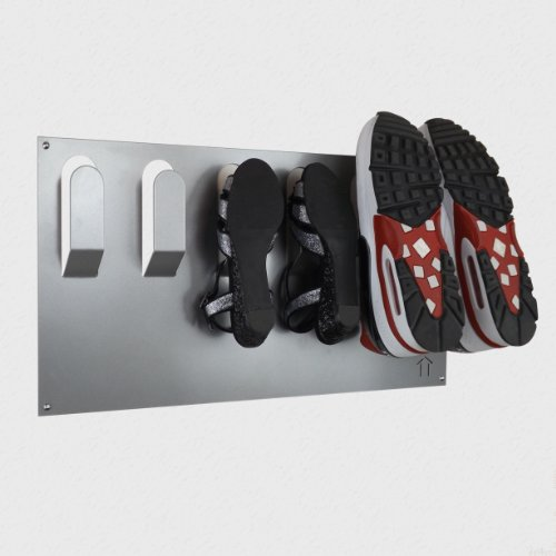 Stylish Wall Mounted Shoe Storage Rack by The Metal House (Metallic Silver)