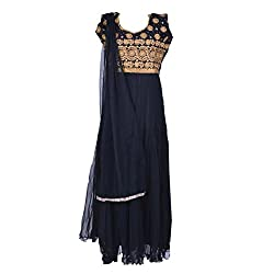Noore Nazar Glitzy Black Half sleeve net Hand Work Anarkali Dress