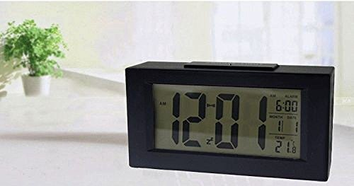 Amyove 4 3 Digital LED Snooze Alarm Calendar Date Desk Clock LCD Screen Display Matte Blacks 80323