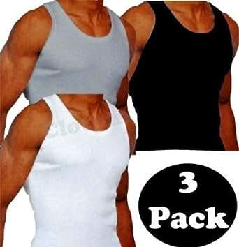 Smart's® -GYM homme Débardeur  Pack de 3   (M, Noir / Blanc / Noir)