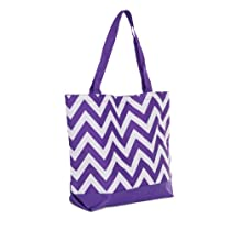 Womens Chevron Print Nylon Tote Bag Purse w/ Solid Color Bottom (Purple/White)