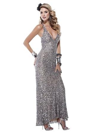 Scala Long Beaded Dress 1027, Platinum, 8