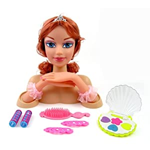 Doll Head Hair Styling on Fashion Princess Styling Head Doll With Hair And Compact Makeup