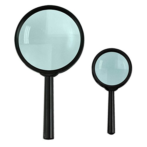 2Pc High-Power Hand-Held Magnifier Glass Set 2.25X & 6.5X - Optical Glass Lenses