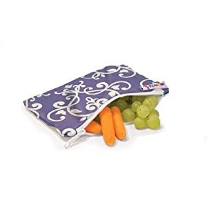 Munchkin 3 Pack Snack Bags, Green/Black/Purple - Reusable and durable - replaces plastic bags