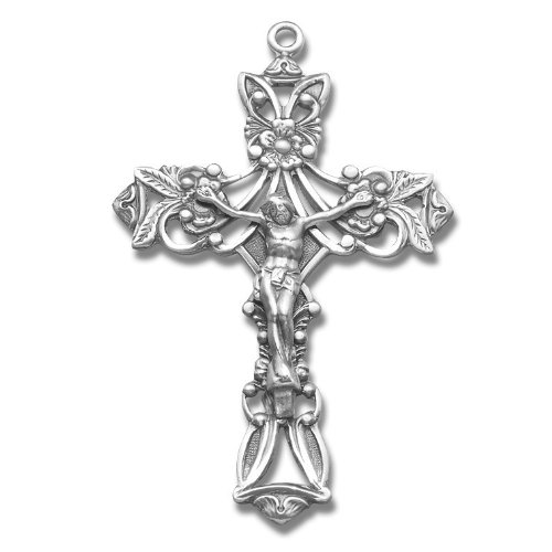 Sterling Silver Medal Rosary Crucifix Cross with 24