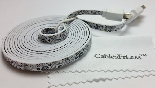Cablesfrless 6Ft Tangle Free Noodle Style Micro Usb Charging / Data Sync Cable Fits Most Android Devices (Music/Peace)