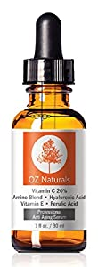 OZ Naturals 20% Vitamin C Plus Amino Plus Hyaluronic Acid Serum, 1 Ounce