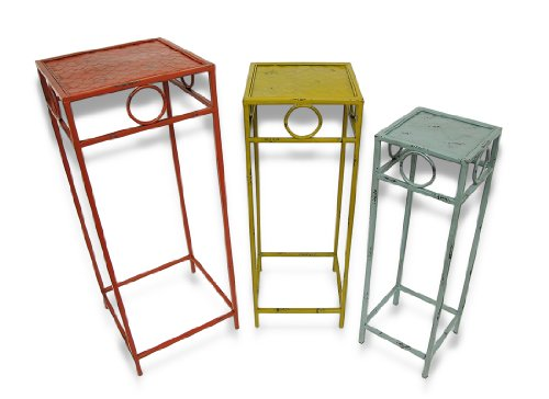 Set Of 3 Shabby Chic Decorative Metal Square Nesting Tables