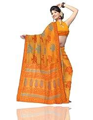 Unnati Silks Women Meghalaya Cotton Silk Printed Yellow Saree