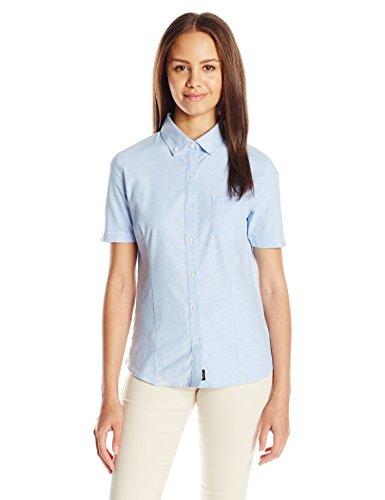 Lee Uniforms Junior's Short Sleeve Stretch Oxford Blouse, Light Blue, Medium (Light Blue Short Sleeve Shirt compare prices)