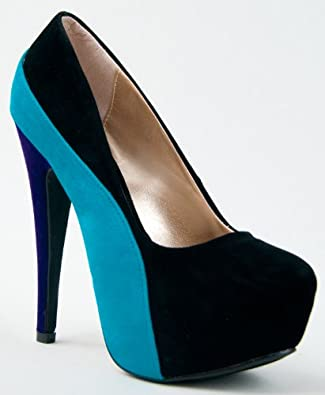 Qupid PENELOPE-44X Tri-tone Colorblock Platform High Heel Stiletto Pump