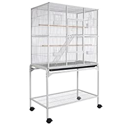 Small Animals Cage Pet Crate Double Stage w/ Stand - Vein White
