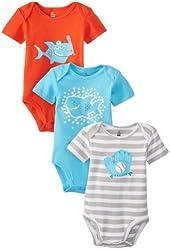 Petit Lem Baby-Boys Newborn Homerun Shark Baby 3 Piece Diaper Shirt Set