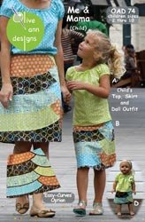 Olive Ann Designs Patterns Me & Mama Skirt, Top & Doll Dress; 2 Items/Order