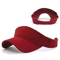Plain Sport Visor Blank Adjustable Velcro Cap (24 Colors Available) (Red)