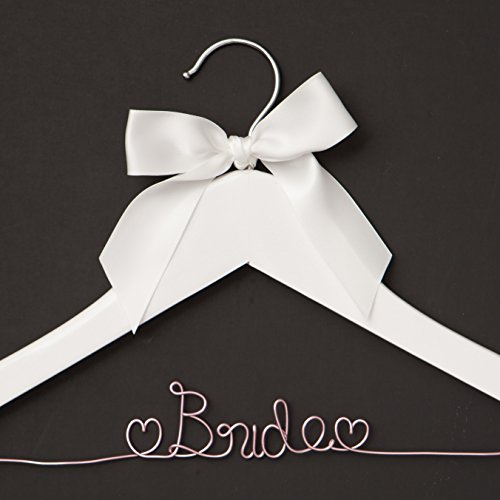 Bride Wedding Dress Hanger, White and Pink Wooden Hangers for Gown (White with Light Pink Wire)