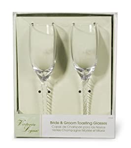 Darice V35922, Bride Groom Twisted Champagne Glasses by Darice