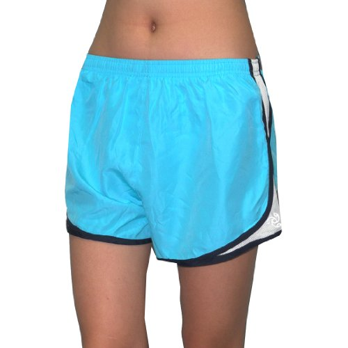 Womens JOCKEY Side-Panel Running / Athletic Shorts with Built-In Panty - Blue