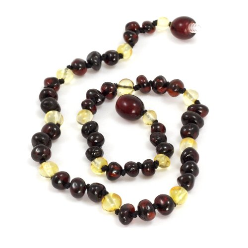 Momma Goose Baroque Teething Necklace, Lemon and Cherry, Small/11-11.5""