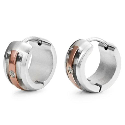 Unique Cubic Zirconia Guys Hoop Huggie CZ Earrings (Silver Bronze)