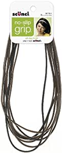 Scunci No-slip Grip Flat Black and Brown Headwraps, 4mm, 8-Count