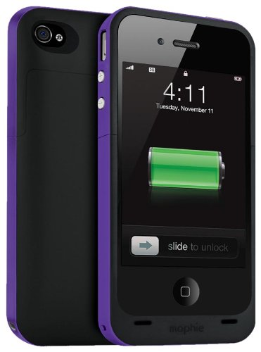 Mophie Juice Pack Plus Case and Rechargeable Battery for iPhone 4 & 4S Retail Packaging (Purple)