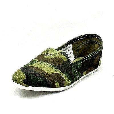 Boys Green Camouflage canvas folded toe flat espadrilles
