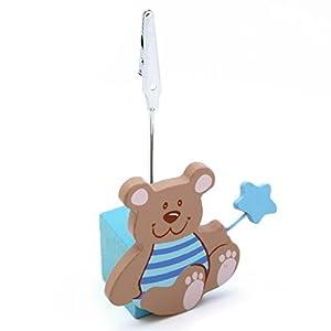Detalles Infantiles - Pinza para tarjetas osito azul bautizo marca La Lluna - BebeHogar.com