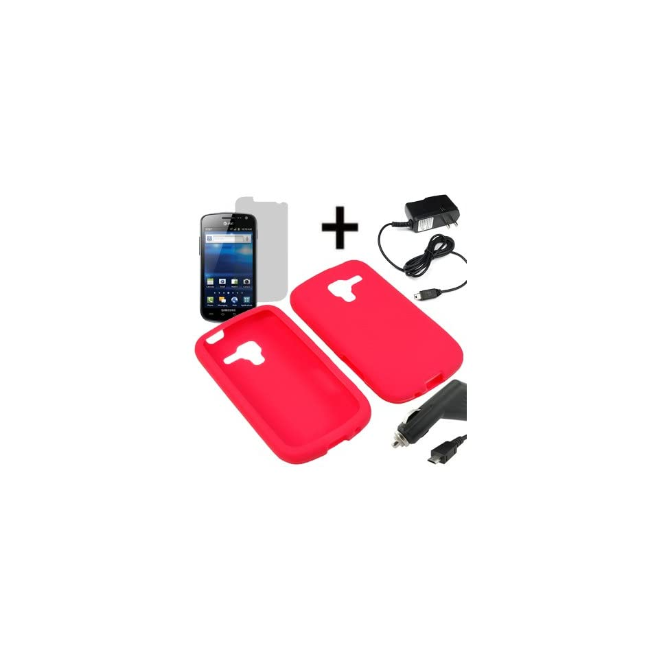BC Silicone Sleeve Gel Cover Skin Case for AT&T Samsung Galaxy Exhilarate i577 + LCD + Car + Home Charger  Red