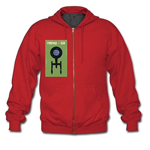 Herveaud's Forever USA Star Trek Teens Zipper Hoodie Red X-Small (Captain Kirk Outfit)