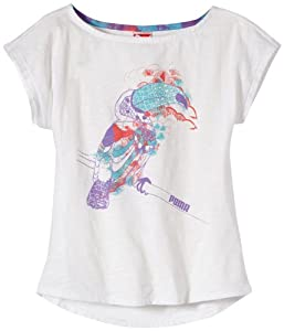 Puma T-Shirt Fille Blanc FR : 10 (Taille Fabricant : 140)