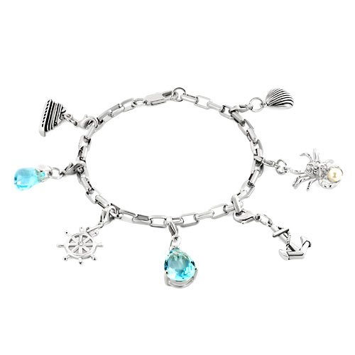 Pugster 925 Sterling Silver Dangle Aquamarine Blue Drip Swarovski Crystal Clear Luxurious Steamship Shell Nautical Anchor Wheel Crab Pearl Charm Lobster Clasps Bracelet