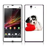 TaylorHe Vinyl Skins for Sony Xperia Z Super-slim Protection Perfect Fit Made in Britain Colourful Decal With Patterns Cute Puppy and Red Love Heart