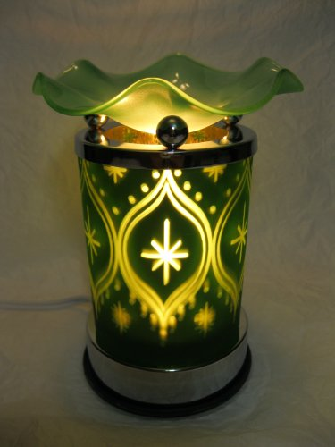Christmas Green Pattern Glass Design Touch Sensitive Decorative Electric Fragrance Lamp Aromatherapy Oil Warmer/Burner Night Light In Gift Box # Mt-067