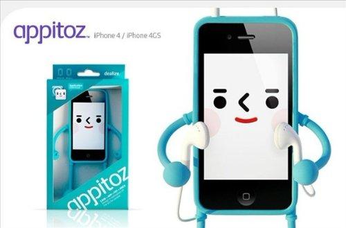 iPhone4/4S専用 Appitoz/アプリと遊べるフィギュア型ケース(カラーバリエ有)iPhone4S ケース カバーassm203-gjk022 (ブラック)