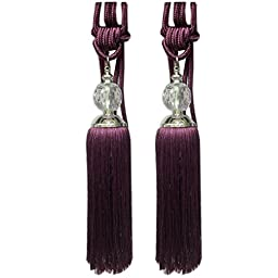 EleCharm 1 Pair Transparent Beads Curtain Tassel Tiebacks Buckle Drapery Tie Back (Purple)