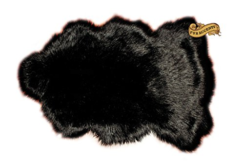 Fur Accents Classic Lambskin Skin Accent Rug Plush Faux Fur Sheepskin (3'x5', Black)
