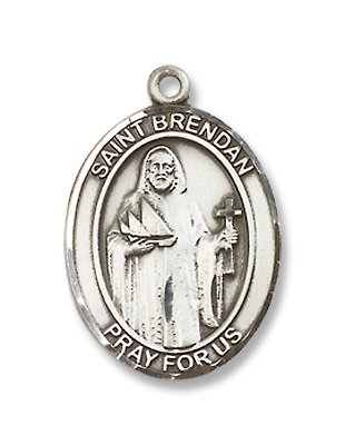 St. Brendan the Navigator Sterling Silver Medal with 18