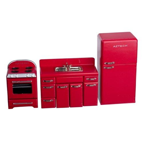 Dollhouse Miniature Red 1950s 4-Pc. Kitchen Appliance Set (Doll House Kitchen Appliances compare prices)