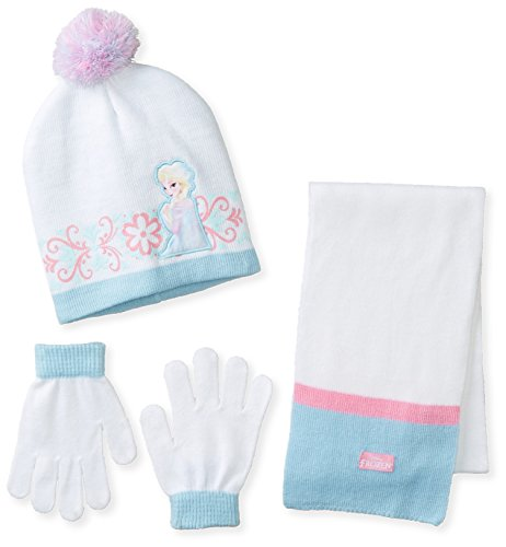Berkshire Girl's 3 Piece Frozen Elsa Pom Beanie Glove and Scarf Set