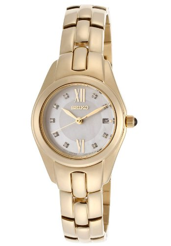 Seiko Women's Seiko MOP Dial Gold Tone Ion Plated Stainless Steel