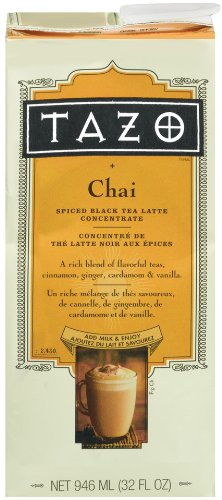 Tazo Chai, Spiced Black Tea Latte Concentrate, 32-Ounce Containers (Pack Of 4)