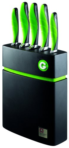 Richardson Sheffield 5-Piece Gripi Knife Set With Wooden Block, Green