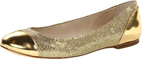 Michael Kors Shala Womens Size 8 Gold Textile Ballet Flats Shoes