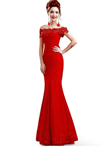 Off shoulder red lace mermaid evening formal bridesmaid dress