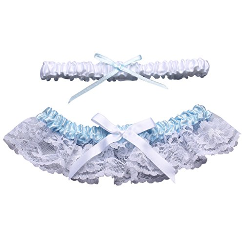 CLOCOLOR Women's Satin Lace 2 Piece Set Bridal Wedding Garters with Bow White&Sky Blue
